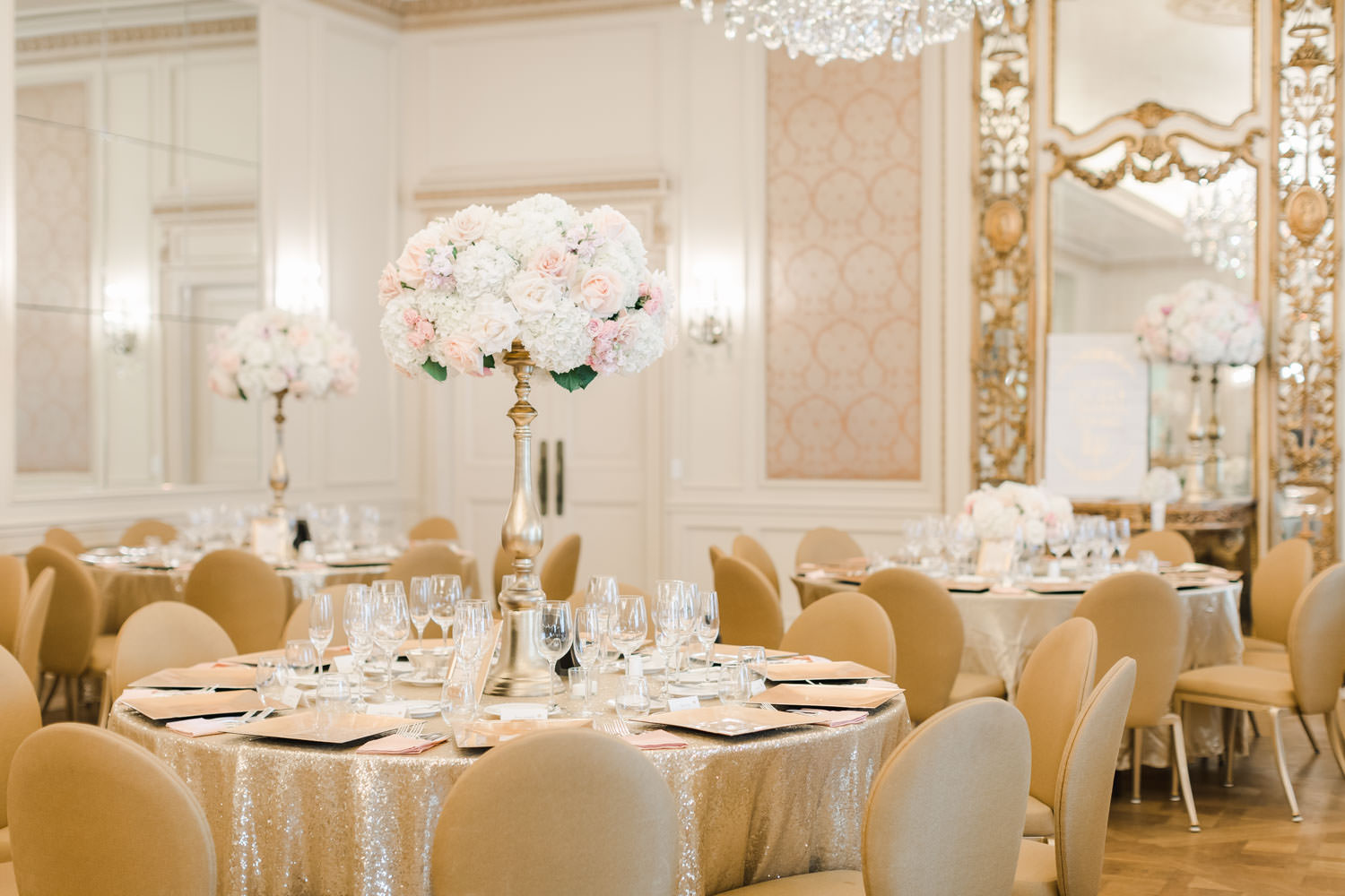 Reception with tall ivory and blush centerpieces, gold chairs, French ballroom, Westgate Hotel Wedding in Downtown San Diego, Cavin Elizabeth Photography