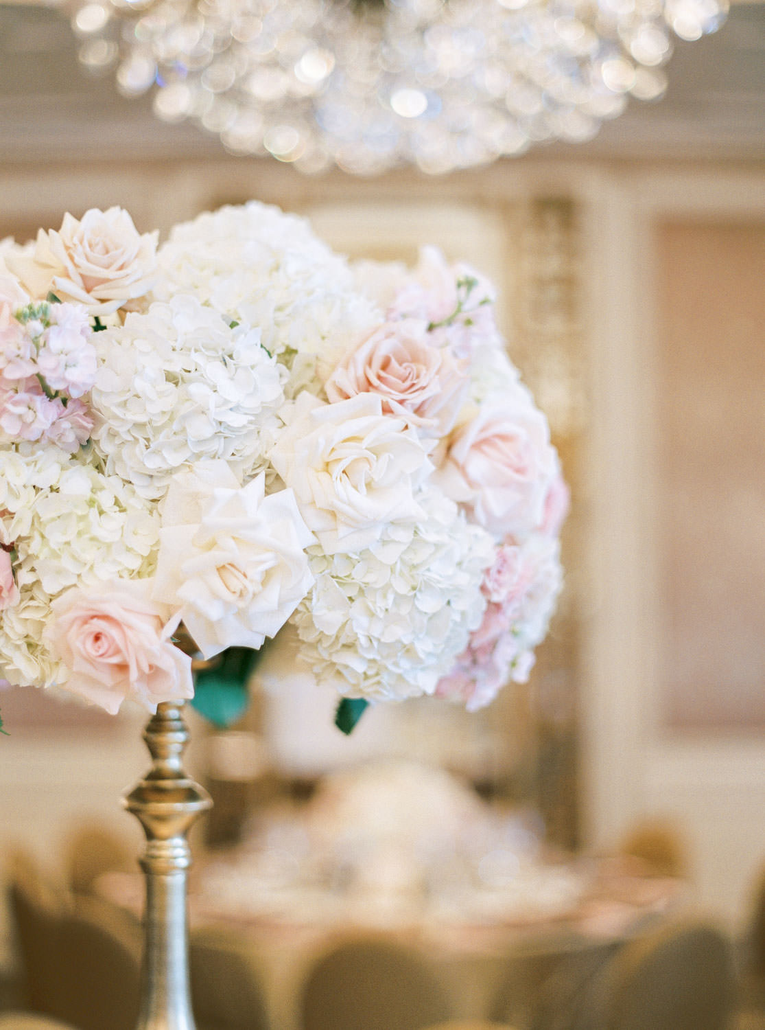 Reception with tall ivory and blush centerpieces, gold chairs, French ballroom, Westgate Hotel Wedding in Downtown San Diego, film by Cavin Elizabeth Photography