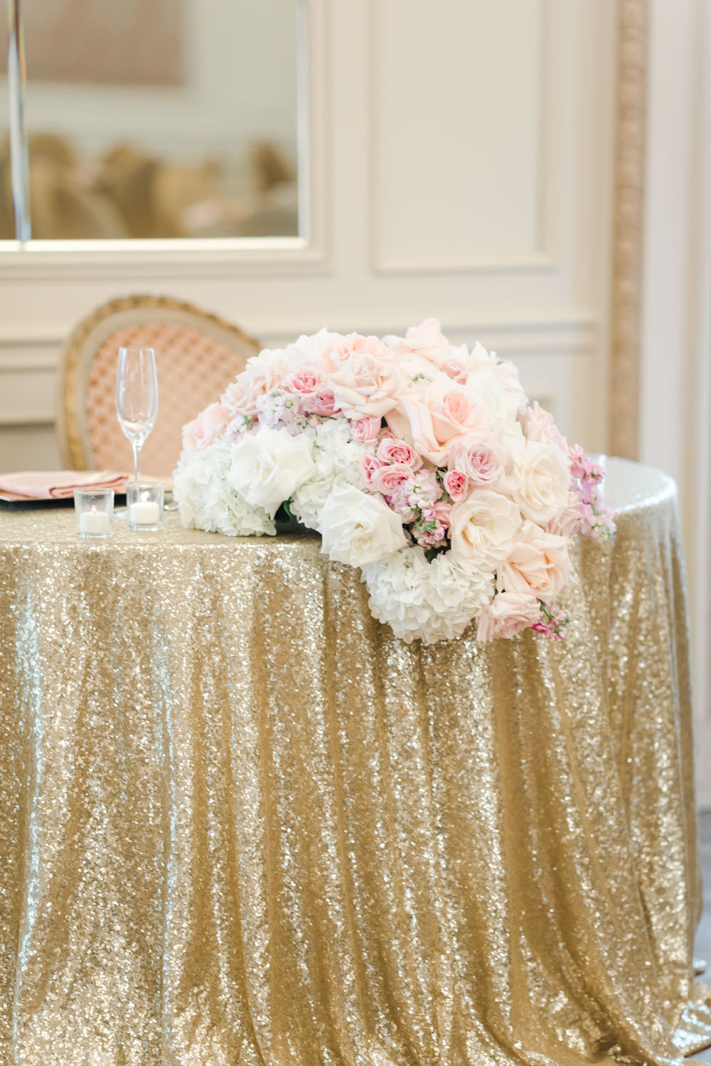 Sweetheart table Reception with tall ivory and blush centerpieces, gold chairs, French ballroom, Westgate Hotel Wedding in Downtown San Diego, Cavin Elizabeth Photography