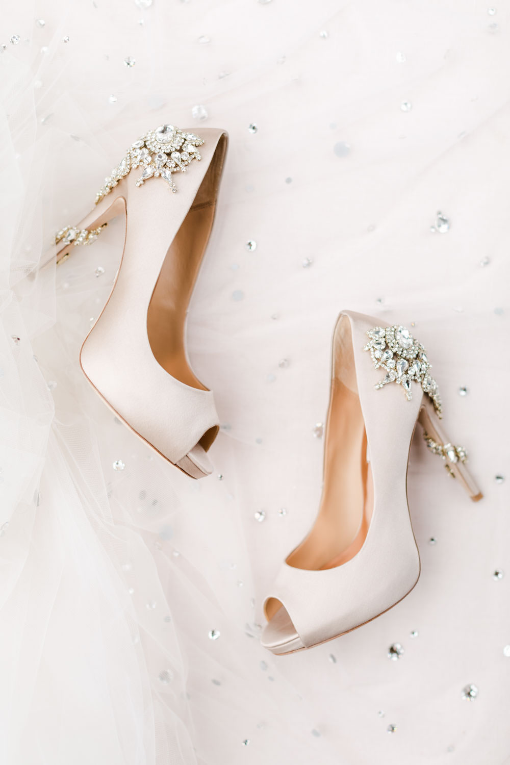 Blush bridal peep toe heels with jewel embellished heels, Cavin Elizabeth Photography