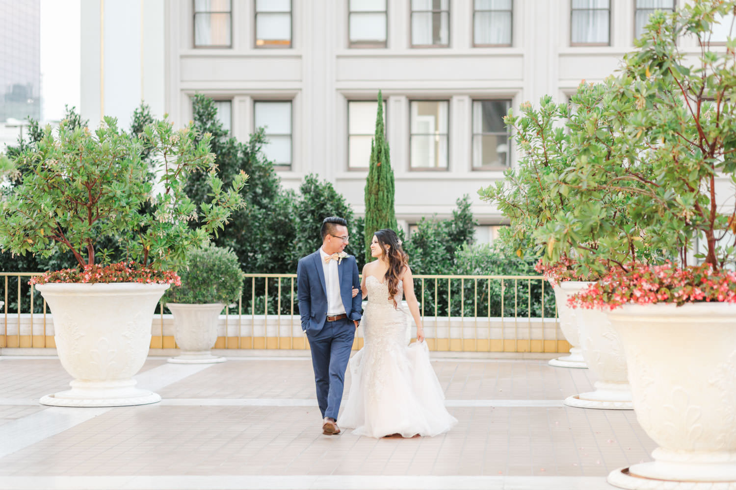 Portrait of bride and groom on Westgate Hotel rooftop, Cavin Elizabeth Photography