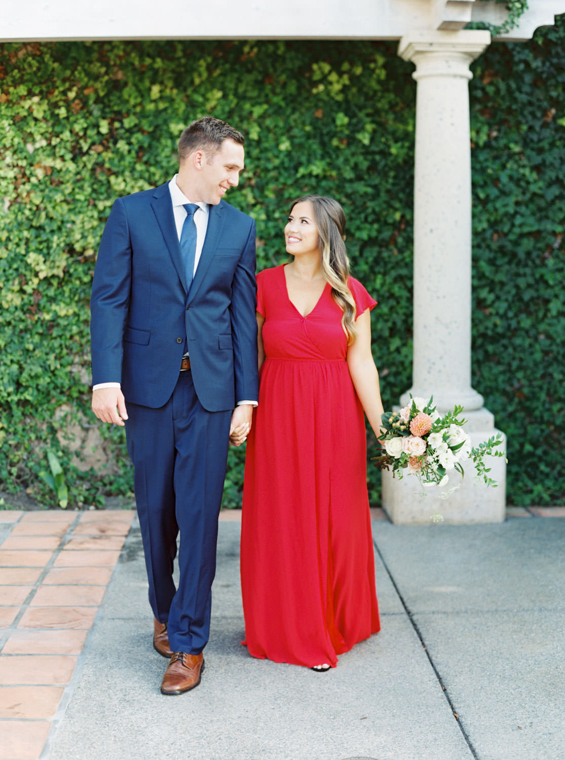 Red dress and navy suit, Formal Coronado Cays Engagement on film, Cavin Elizabeth Photography