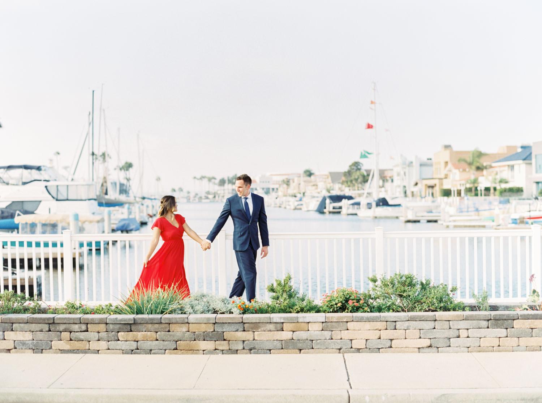 Sailboat canal Coronado Cays Engagement on film, Cavin Elizabeth Photography