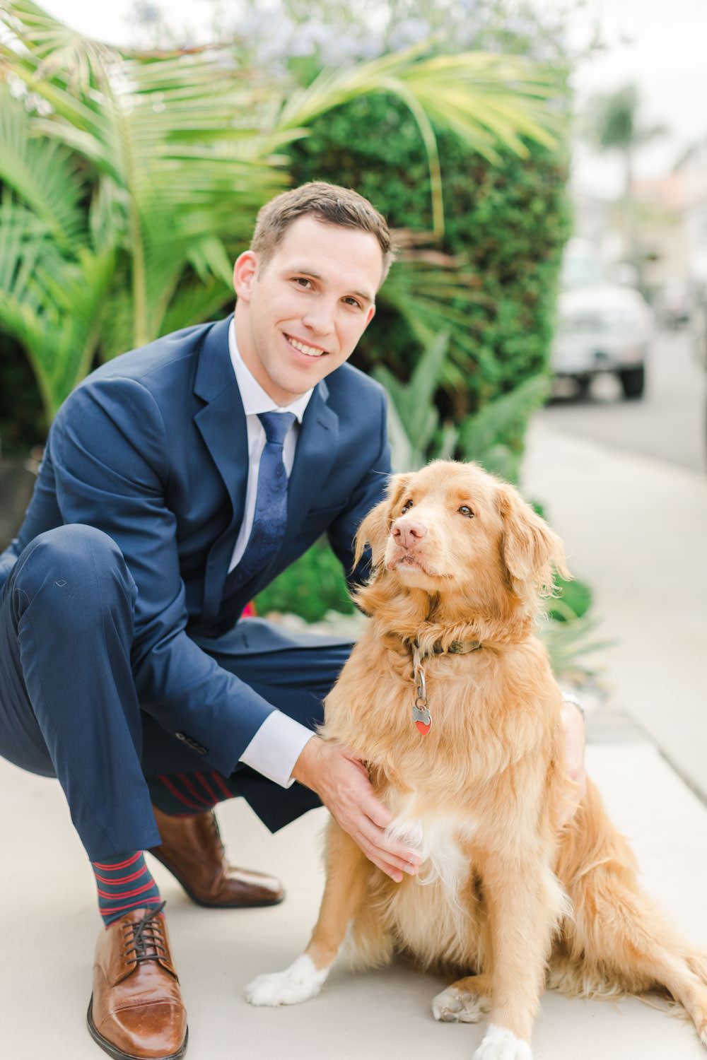 Groom with dog for engagement session, Cavin Elizabeth Photography