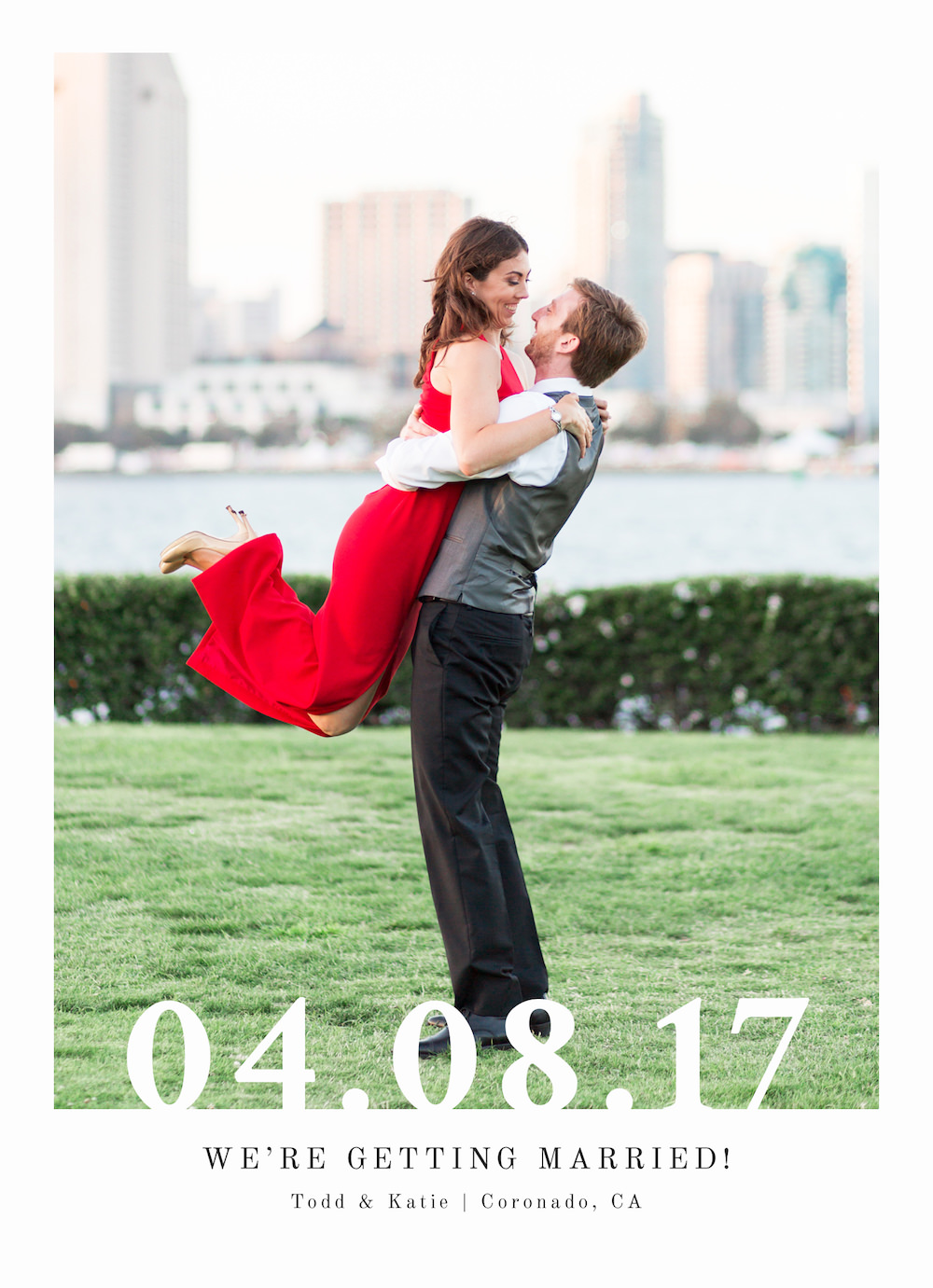 Save the date card with photos