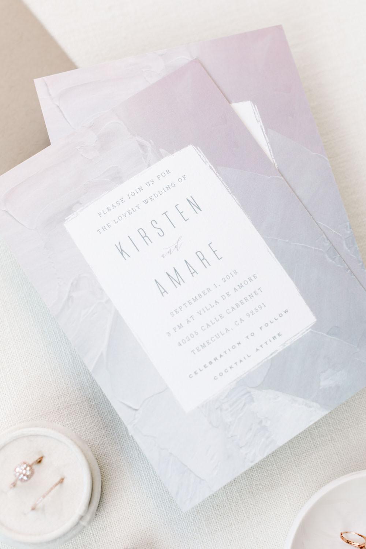 Grey and white watercolor fine art modern wedding invitation, Cavin Elizabeth Photography