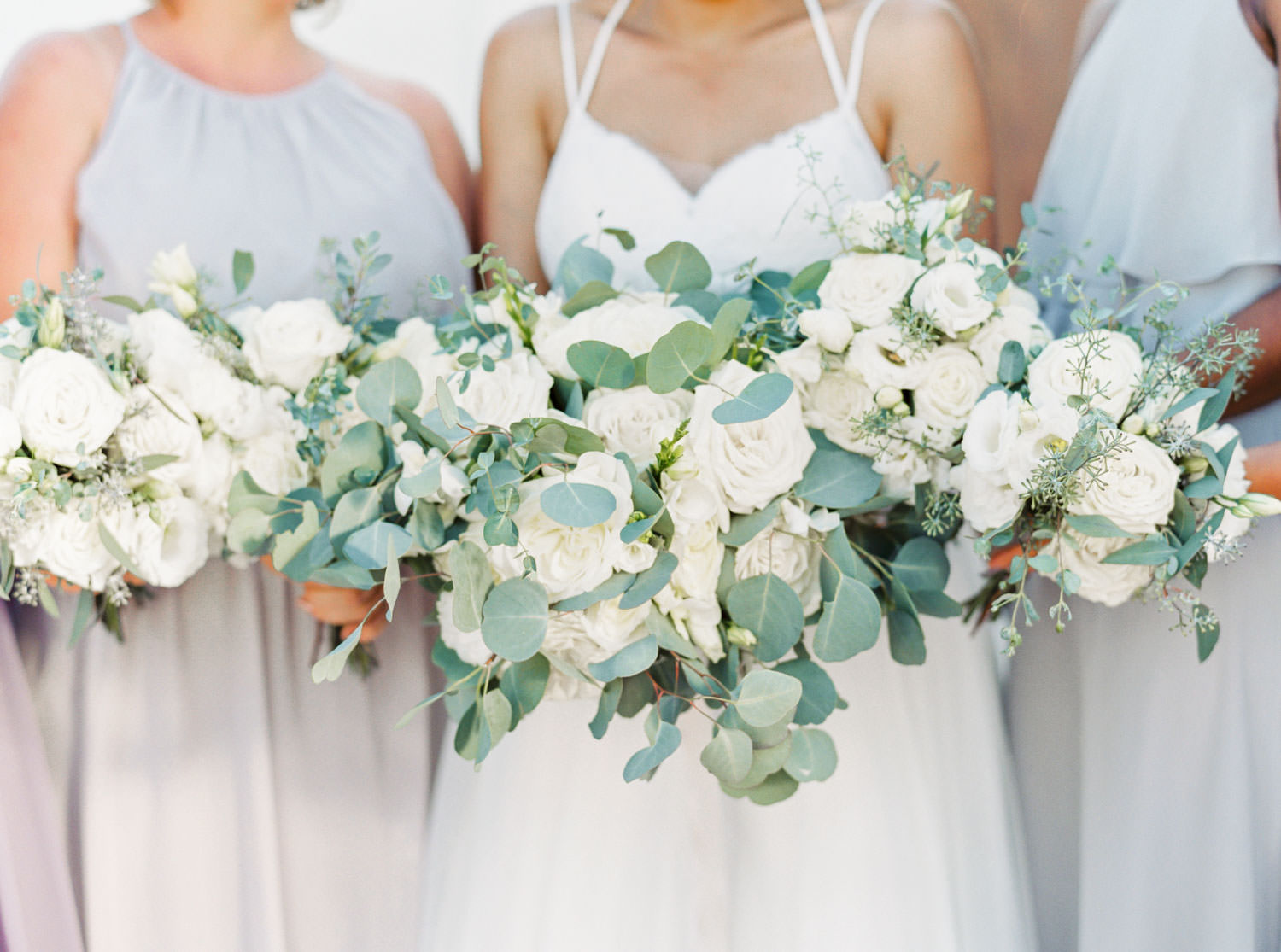 Bridal party bouquet film portrait of bridesmaids in grey and lavender dresses with white and green flowers at Temecula Wedding at Villa De Amore, Cavin Elizabeth Photography