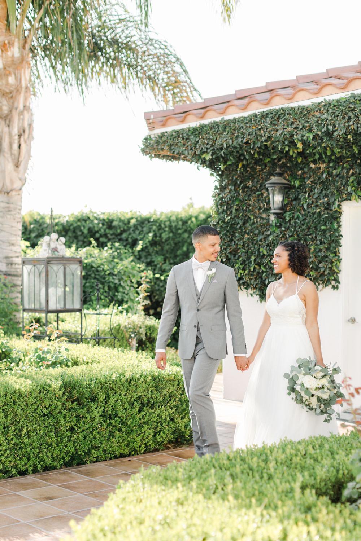 Bride and groom walking portrait at Temecula Wedding at Villa De Amore, Cavin Elizabeth Photography