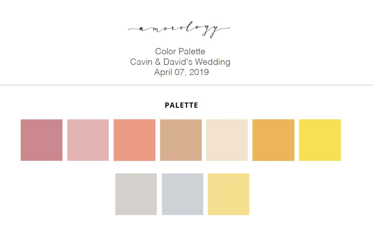 sophisticated wedding color palette with pink, mauve, apricot, peach, butter yellow, terracotta, french blue, grey, and gold from Amorology