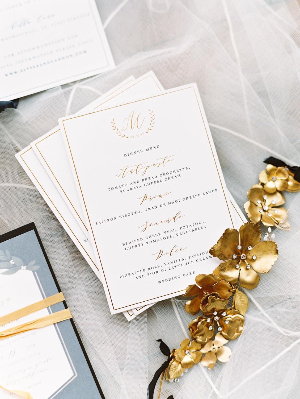 Film photography, White and gold gold foil wedding invitation menu, Cavin Elizabeth Photography