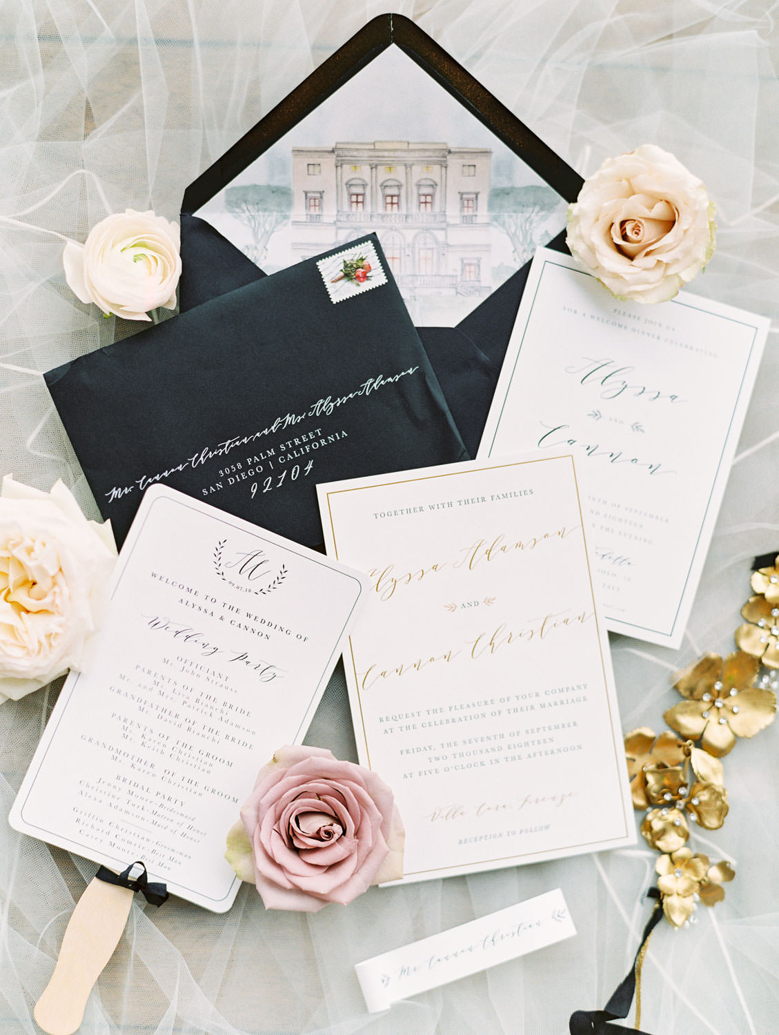 Film photography, White and gold gold foil wedding invitation suite with Italy venue illustration envelope liner, Cavin Elizabeth Photography