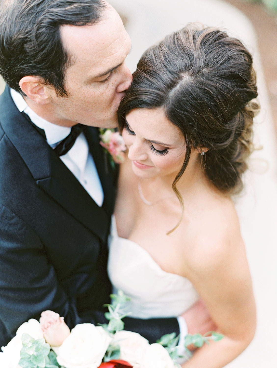 Bride in Anne Barge sweetheart gown and groom in black tux at Green Acre Campus Pointe Wedding, film photo by Cavin Elizabeth Photography