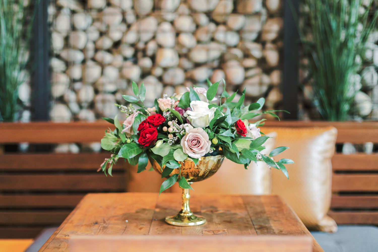 Centerpiece with green red ivory and mauve roses, Green Acre Campus Pointe Wedding San Diego, Cavin Elizabeth Photography