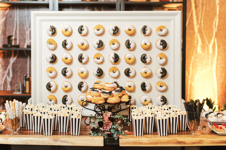 Donut board dessert display, Green Acre Campus Pointe Wedding San Diego, Cavin Elizabeth Photography