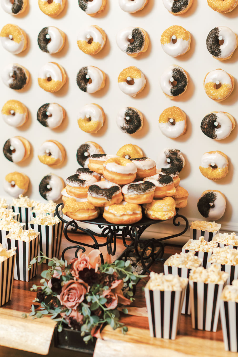 Donut dessert display with black and white and gold, Green Acre Campus Pointe Wedding San Diego, Cavin Elizabeth Photography