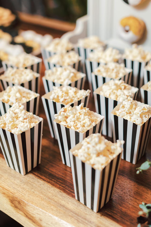 Wedding popcorn in black and white stripe boxes, Green Acre Campus Pointe Wedding San Diego, Cavin Elizabeth Photography