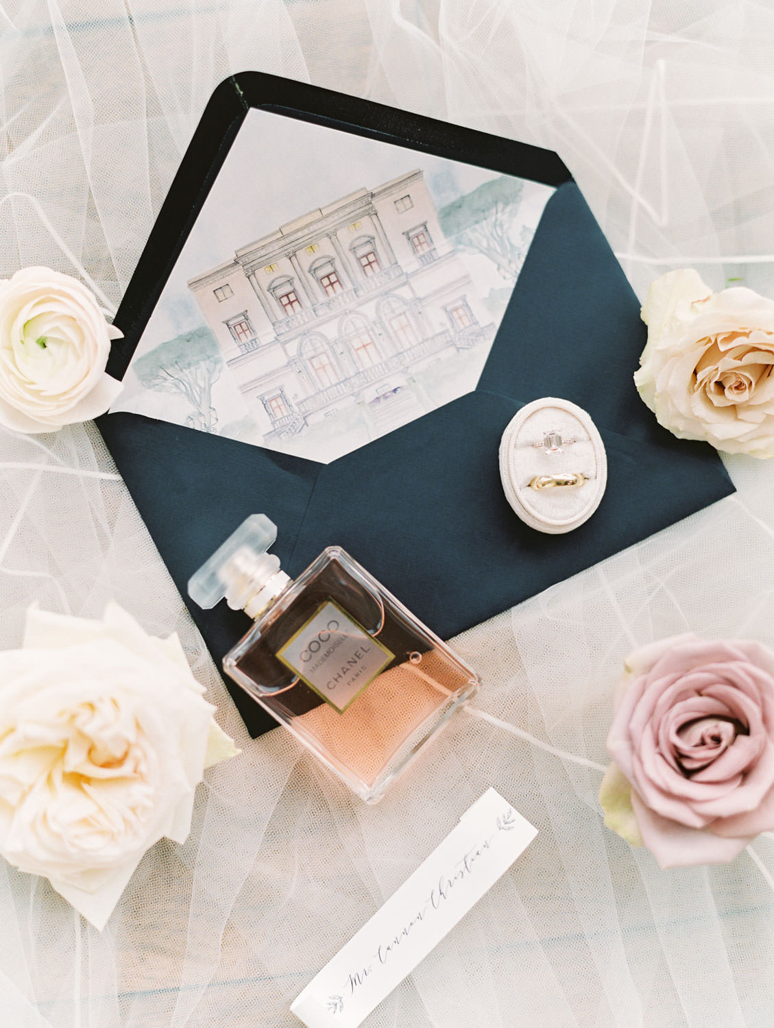 Film photography, flowers and bride's perfume, invitation with Italy venue illustration envelope liner, Cavin Elizabeth Photography