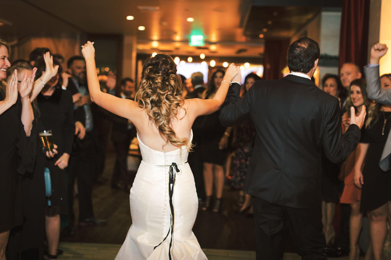 Bride and groom grand entrance, Green Acre Campus Pointe Wedding San Diego, Cavin Elizabeth Photography