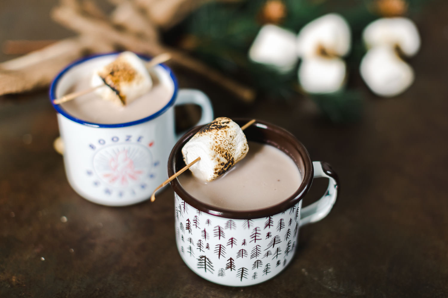Boozy hot chocolate served in mugs with toasted marshmallows, Snake Oil Cocktail's Fall Wedding Cocktails, Cavin Elizabeth Photography