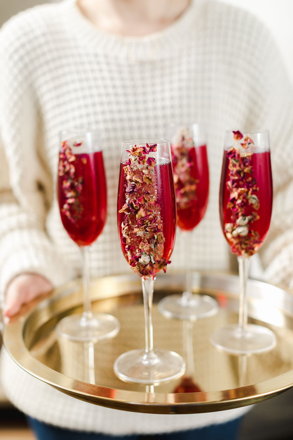 Pomegranate bellinis with decorated glasses for New Years, Snake Oil Cocktail's Fall Wedding Cocktails, Cavin Elizabeth Photography