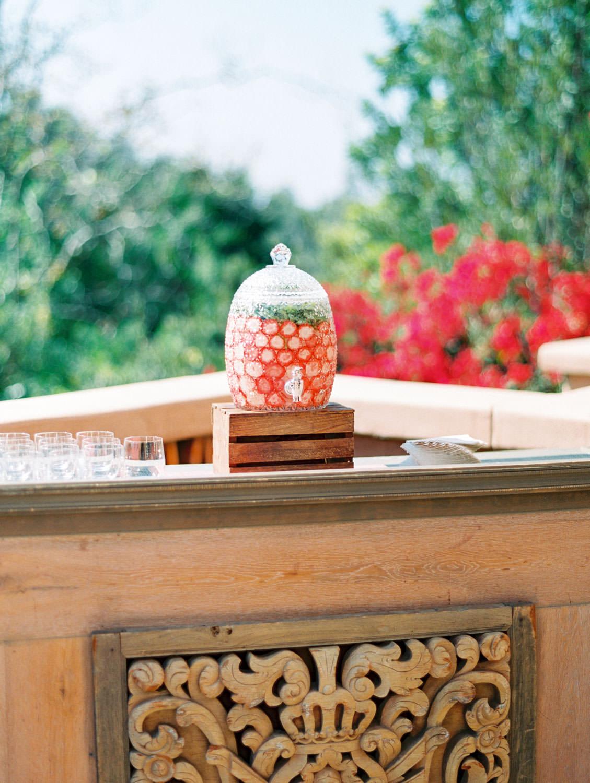 Strawberry water, Rancho Valencia Hacienda wedding private venue rental, film by Cavin Elizabeth Photography