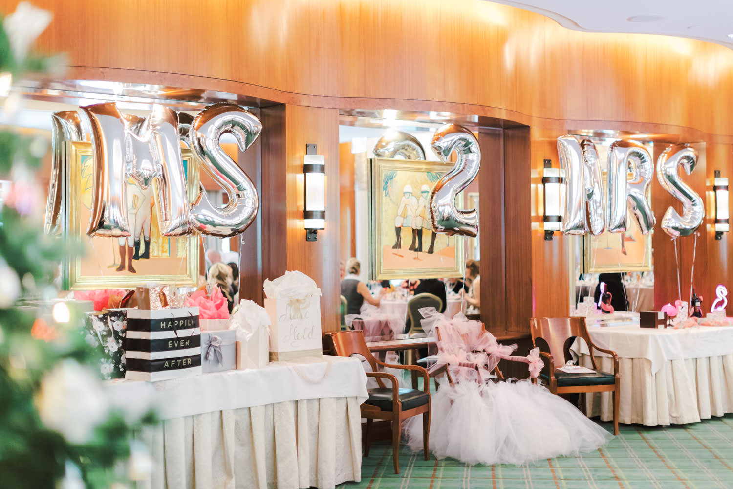 Ms 2 Mrs balloons, Chic Beverly Hills Hotel Bridal Shower table with pink linens and pops of ivory and red in Los Angeles during Christmas decorations, Cavin Elizabeth Photography