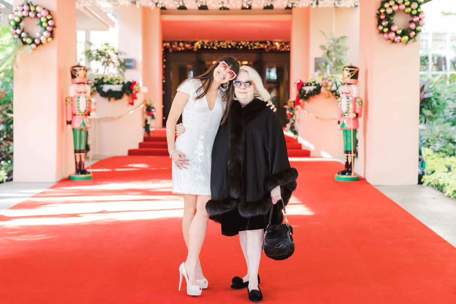 Bride with mother at Chic Beverly Hills Hotel Bridal Shower during Christmas decorations, Cavin Elizabeth Photography
