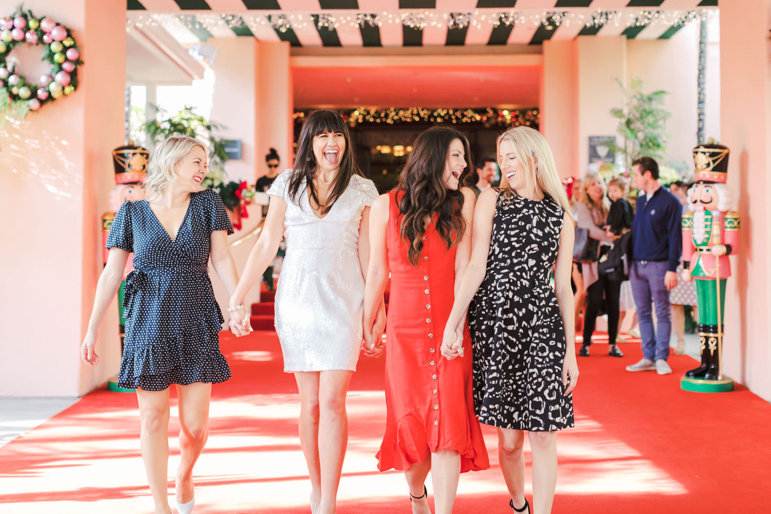 Bride with bridesmaids at Chic Beverly Hills Hotel Bridal Shower during Christmas decorations, Cavin Elizabeth Photography