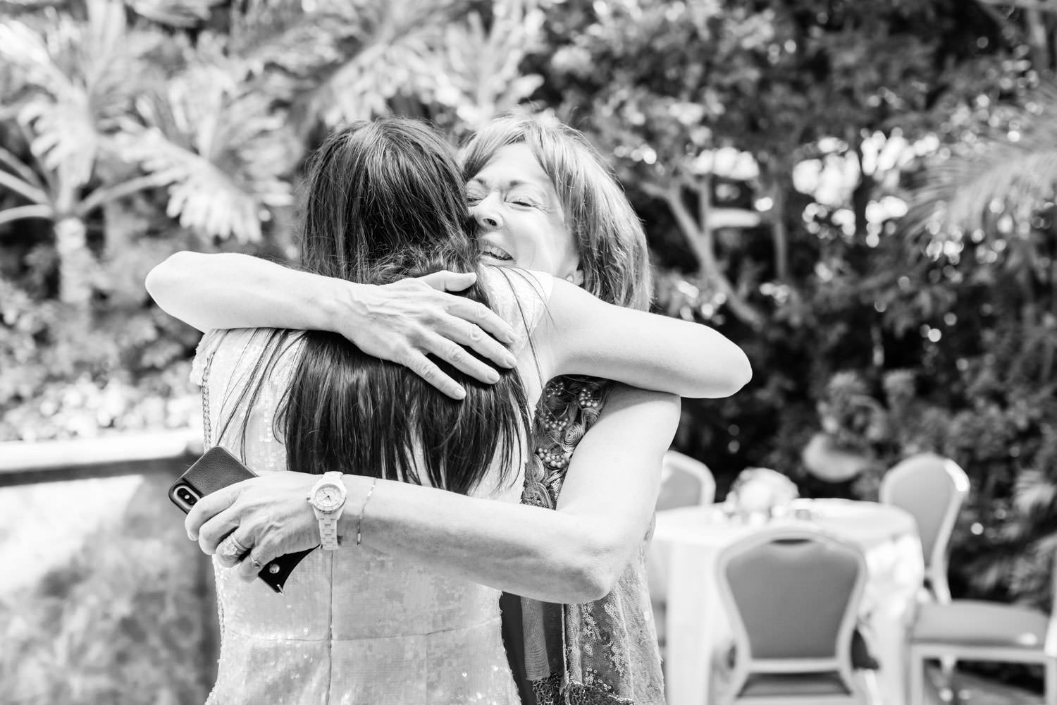 Bride greeting host at Chic Beverly Hills Hotel Bridal Shower during Christmas decorations, Cavin Elizabeth Photography