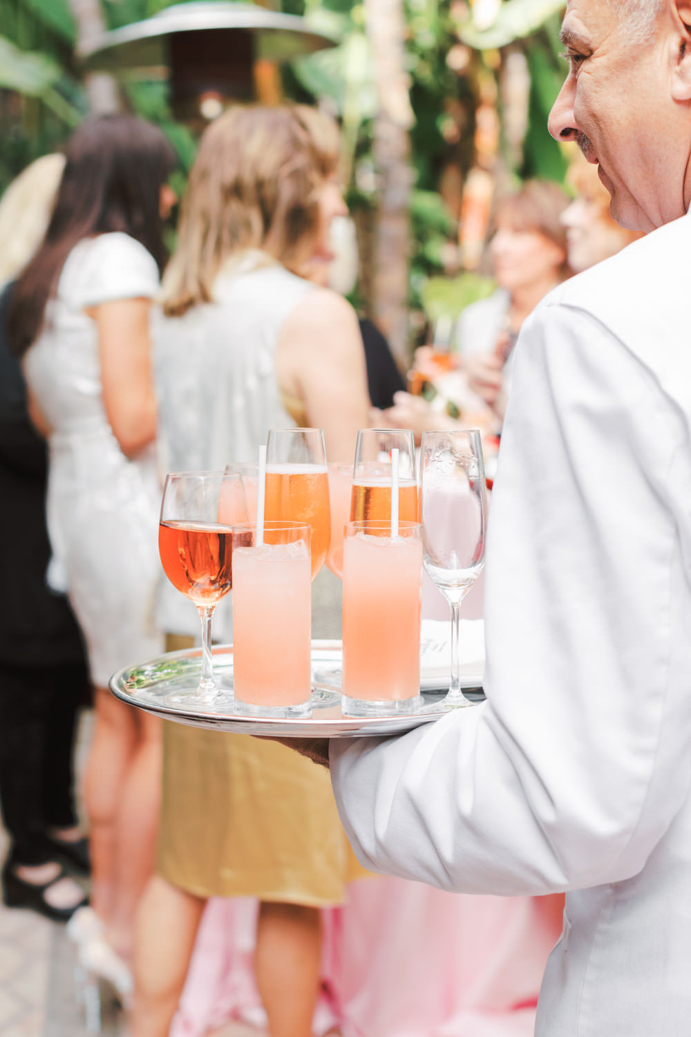 Chic Beverly Hills Hotel Bridal Shower cocktail tray with pink drinks of cocktails and champagne in Los Angeles during Christmas decorations, Cavin Elizabeth Photography
