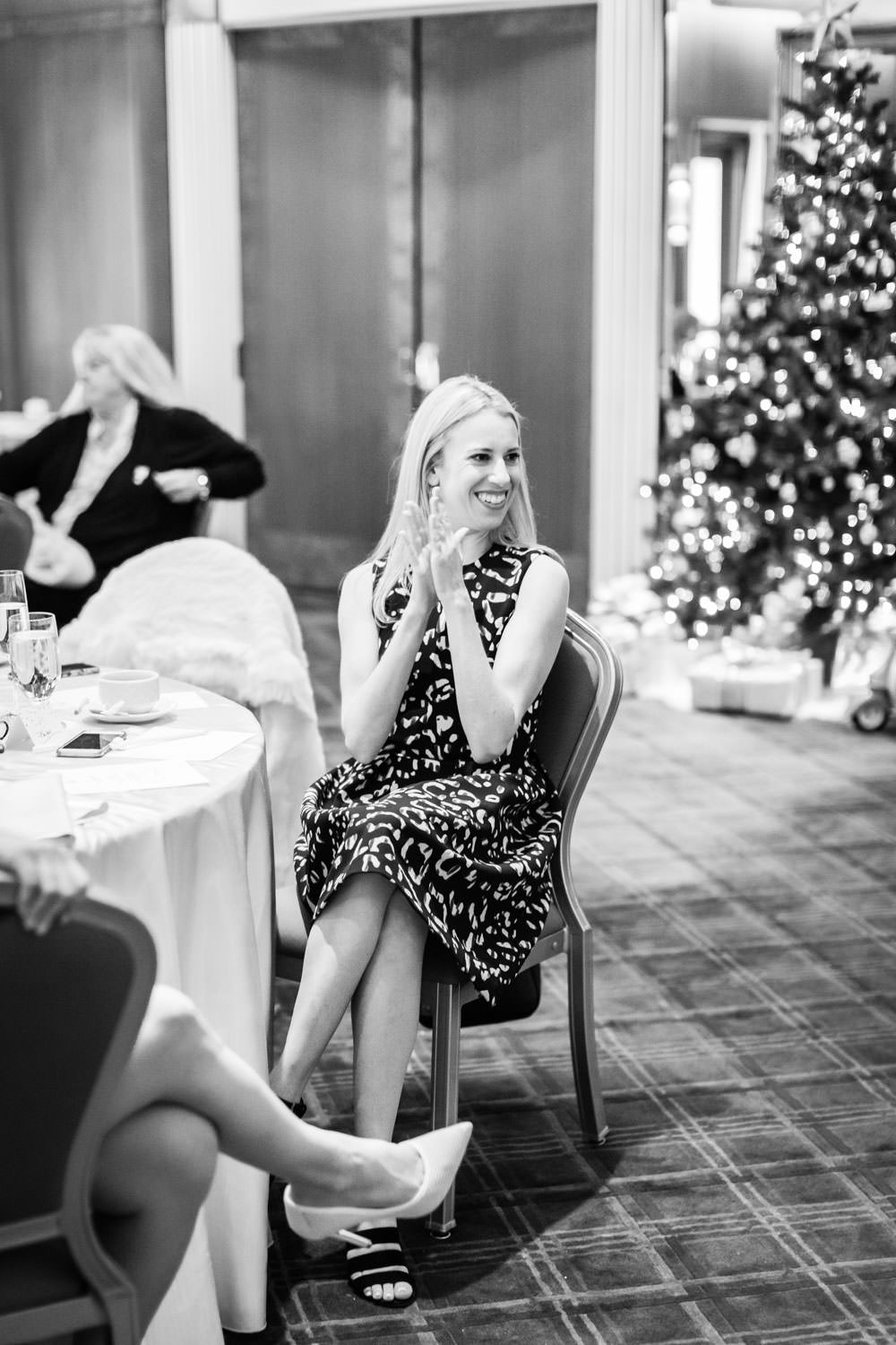 Guests smiling at Chic Beverly Hills Hotel Bridal Shower during Christmas time, Cavin Elizabeth Photography