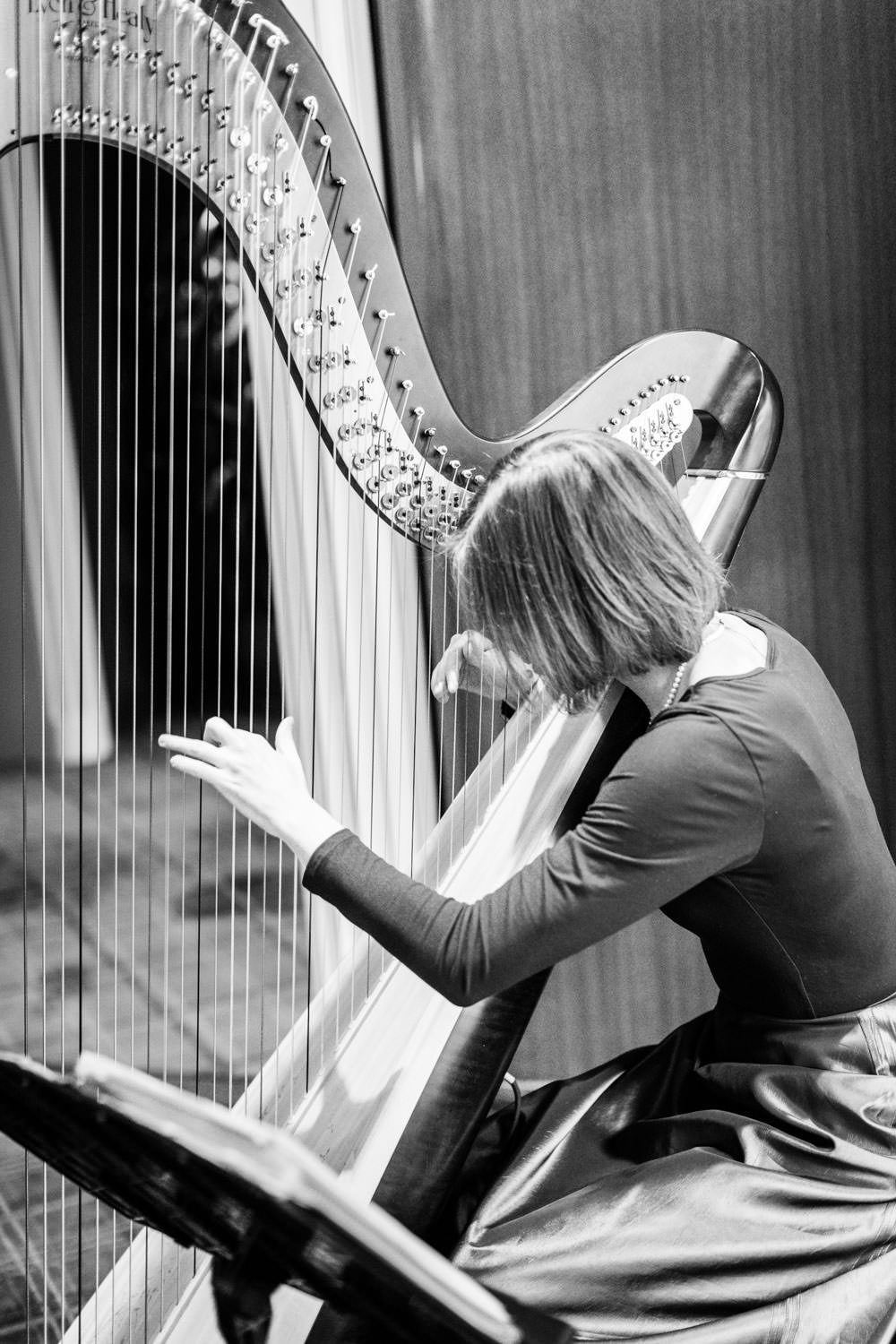 Harpist playing at Chic Beverly Hills Hotel Bridal Shower during Christmas time, Cavin Elizabeth Photography