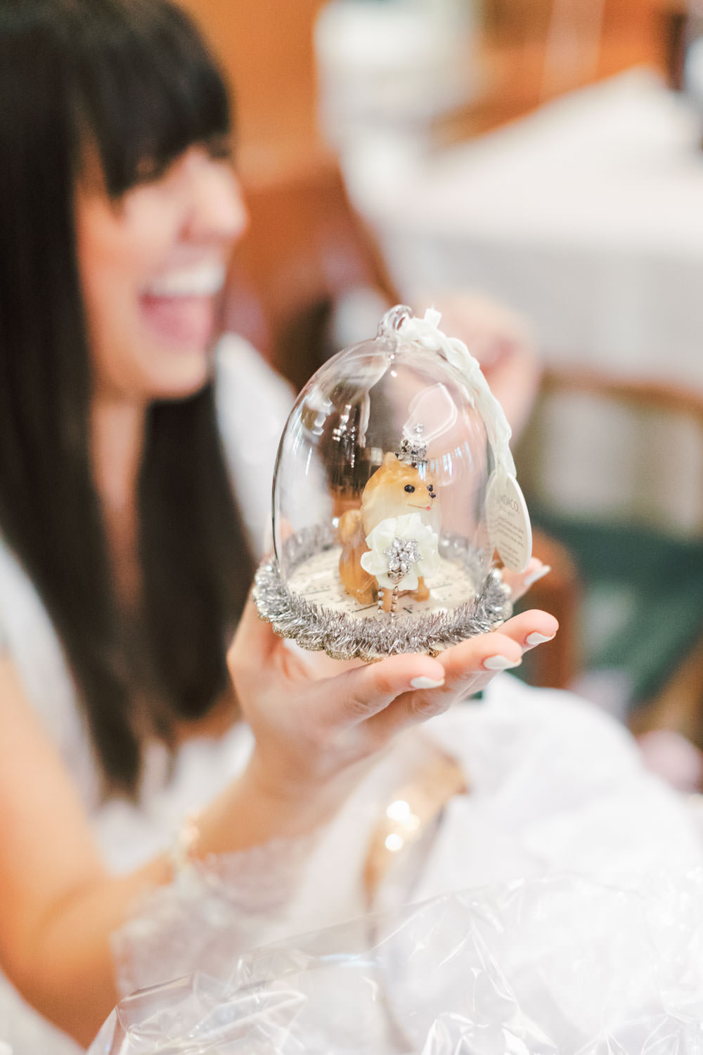 Pomeranian in glass ornament for Christmas, Chic Beverly Hills Hotel Bridal Shower during Christmas time, Cavin Elizabeth Photography