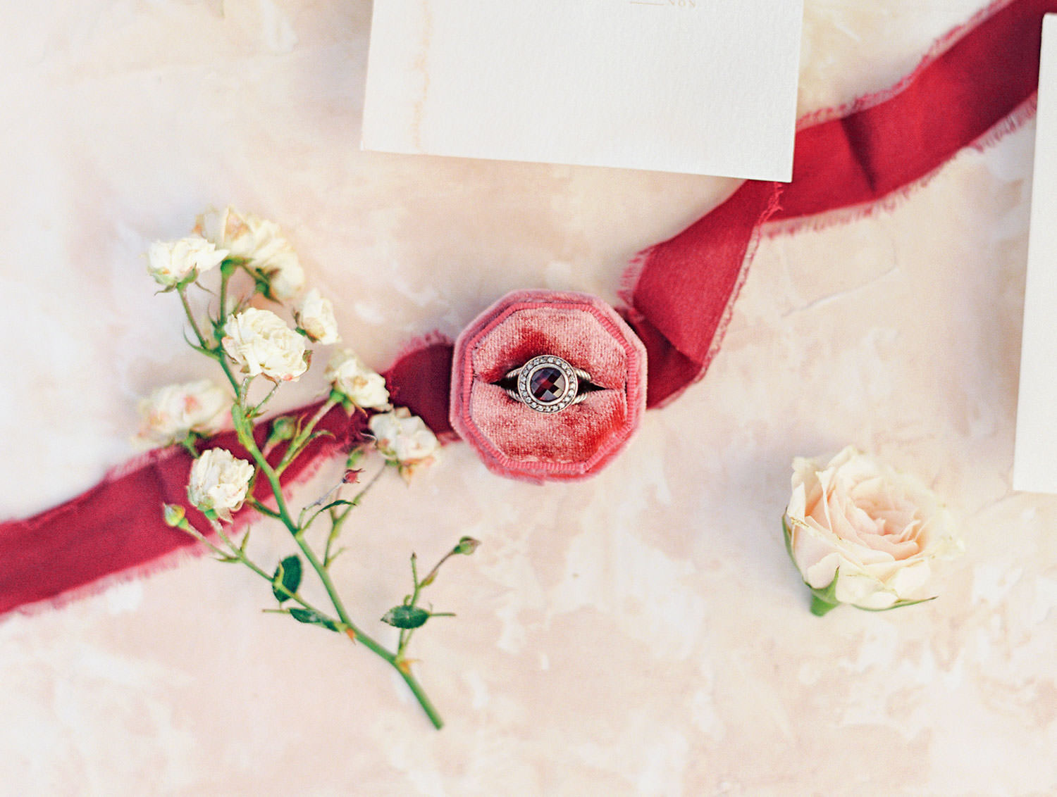Berry color pink burgundy velvet octagon ring box by Voeu du Coeur and ribbon from Tono and Co, Pampas Grass Wedding in San Diego on Film by Cavin Elizabeth Photography