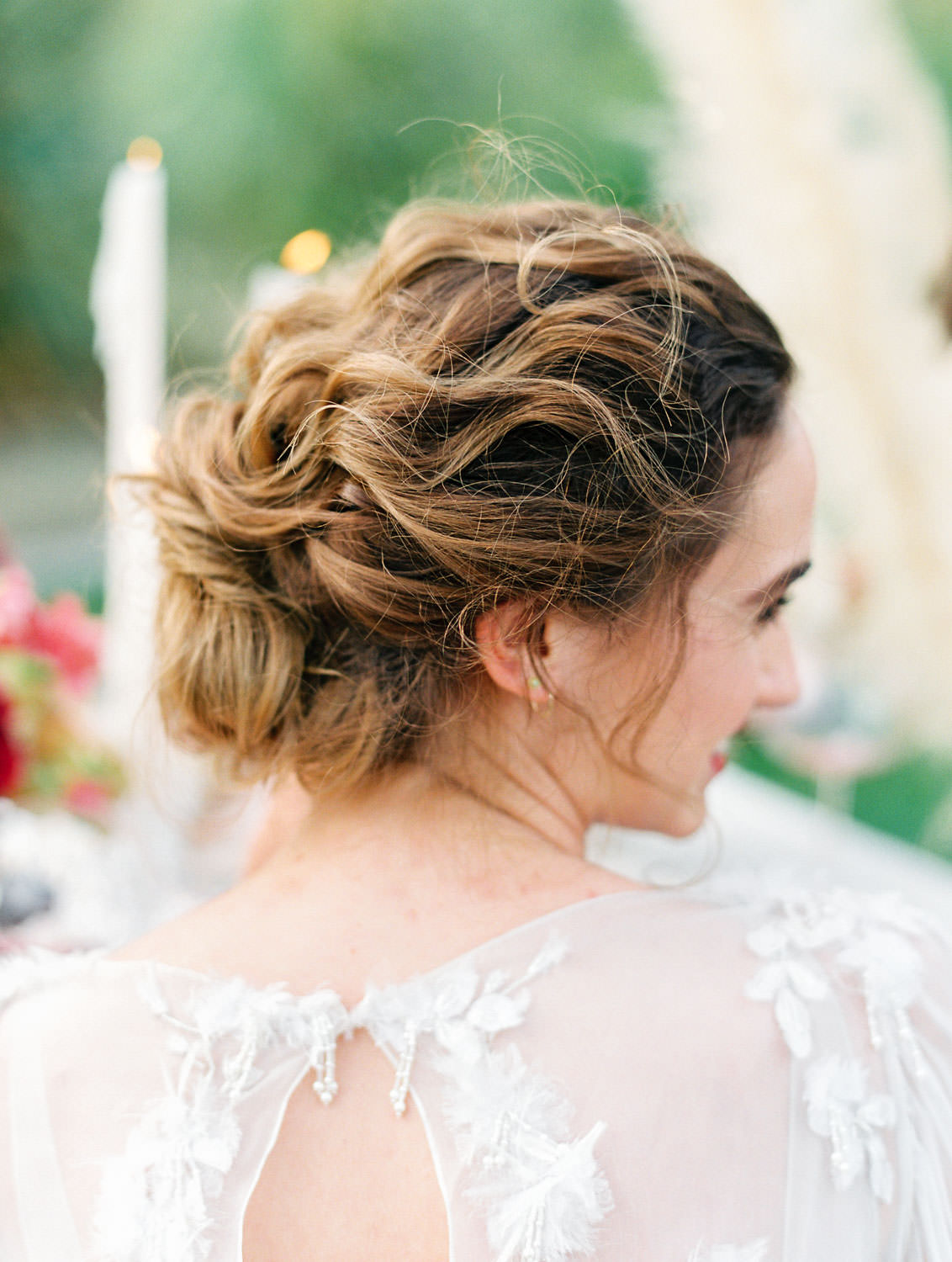 Curled soft fine art updo on a bride wearing a Poppy Marchesa long sleeve gown, Pampas Grass Wedding in San Diego on Film by Cavin Elizabeth Photography
