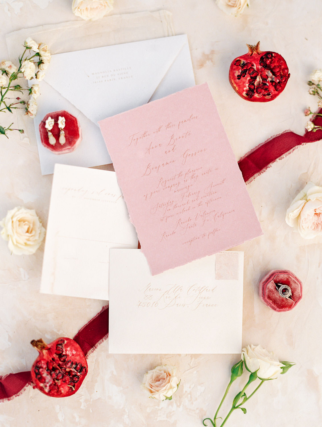 Berry Toned wedding stationery invitations with pink paper and hand torn edges with calligraphy, Pampas Grass Wedding in San Diego on Film by Cavin Elizabeth Photography