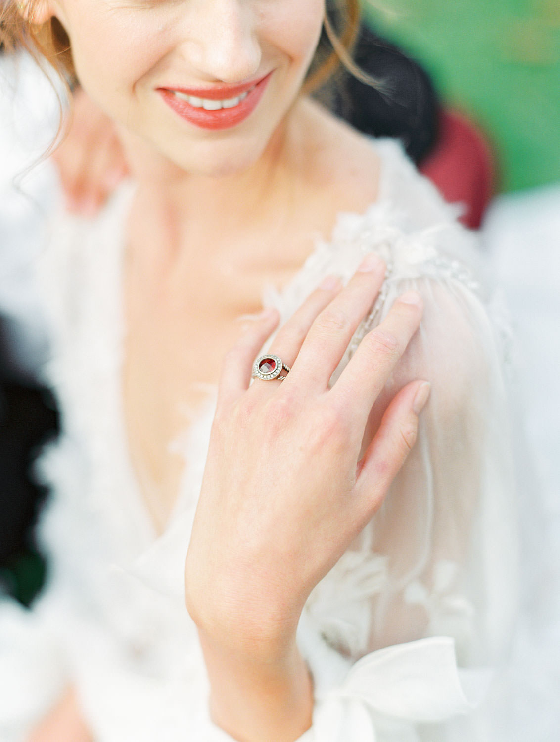 Red burgundy ruby David Yurman ring on a bride wearing a Marchesa long sleeve gown, Pampas Grass Wedding in San Diego on Film by Cavin Elizabeth Photography
