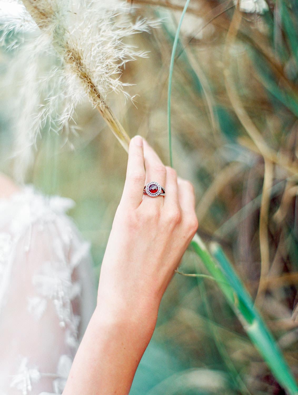 Bride wearing ruby David Yurman ring, Pampas Grass Wedding in San Diego on Film by Cavin Elizabeth Photography