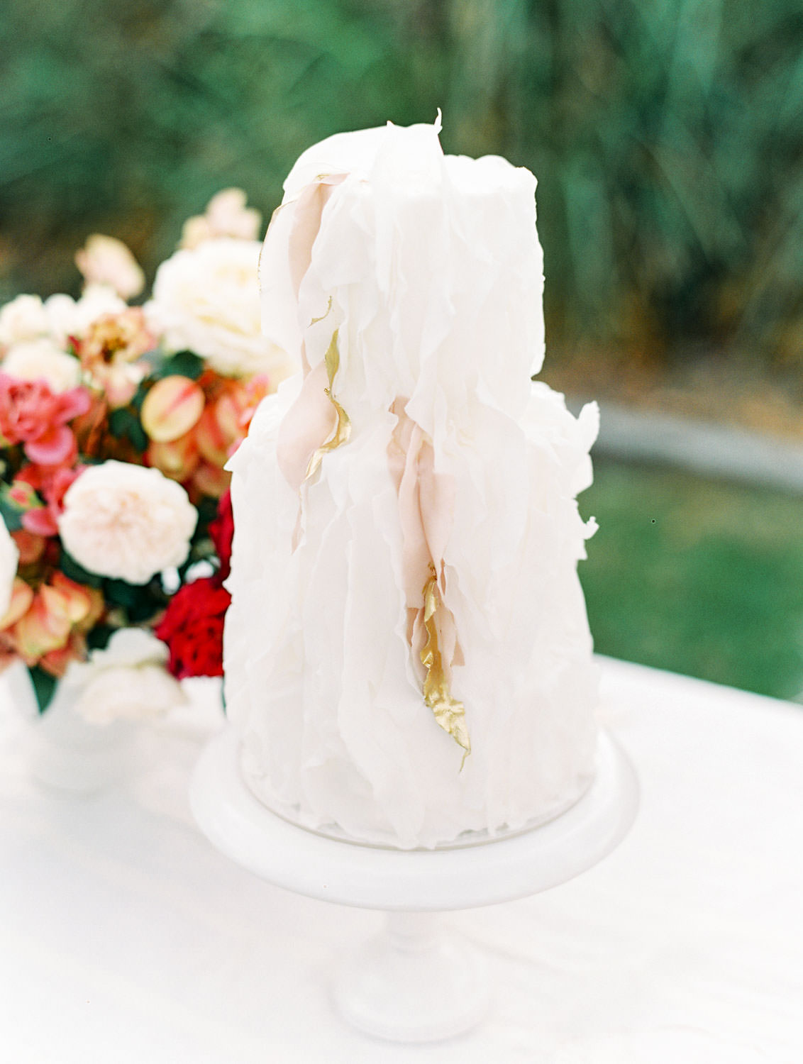 Textured white and blush two tier cake with accents of gold, Pampas Grass Wedding in San Diego on Film by Cavin Elizabeth Photography