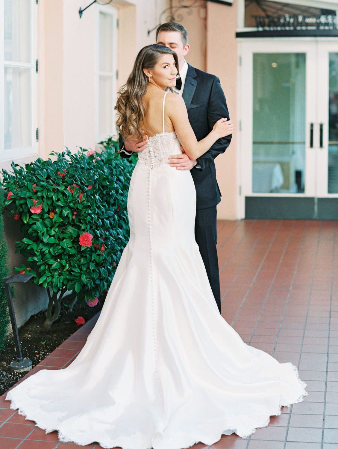 Elegant and glam bridal hair and gown with long train, Intimate Wedding at La Valencia Hotel in La Jolla by Cavin Elizabeth Photography