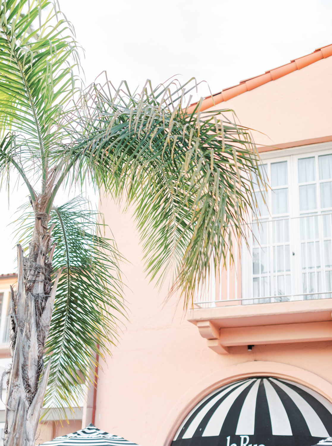Pink walls surrounded by palm trees and black and white stripe awning for a chic San Diego wedding venue, Intimate Wedding at La Valencia Hotel in La Jolla by Cavin Elizabeth Photography