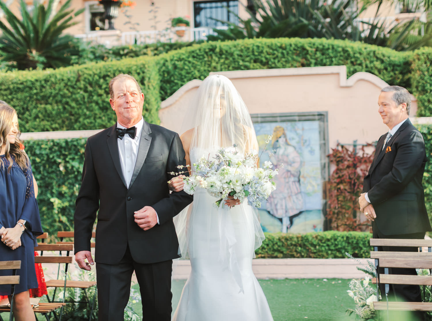 Bride and father walking down the aisle for his wedding ceremony, Intimate Wedding at La Valencia Hotel in La Jolla by Cavin Elizabeth Photography