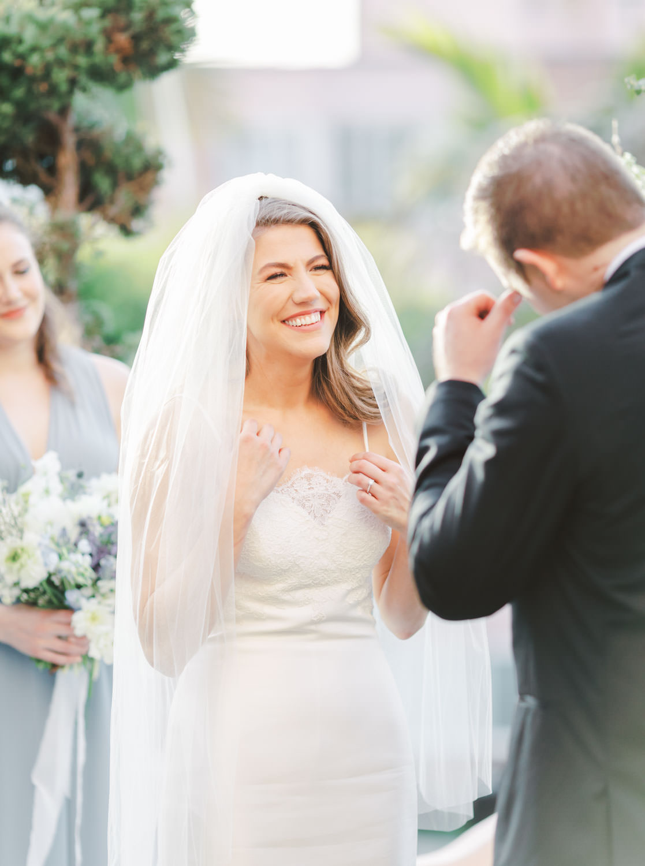 Intimate Wedding ceremony on the private lawn at La Valencia Hotel in La Jolla by Cavin Elizabeth Photography