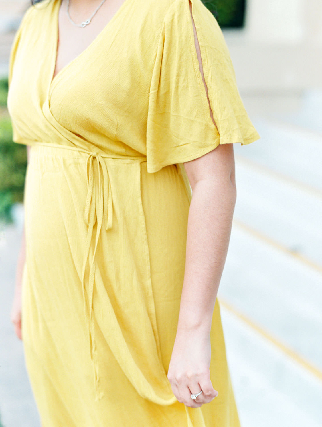 Bride in yellow flowy wrap dress, Film Balboa Park Organ Pavilion Engagement Photos by Cavin Elizabeth Photography