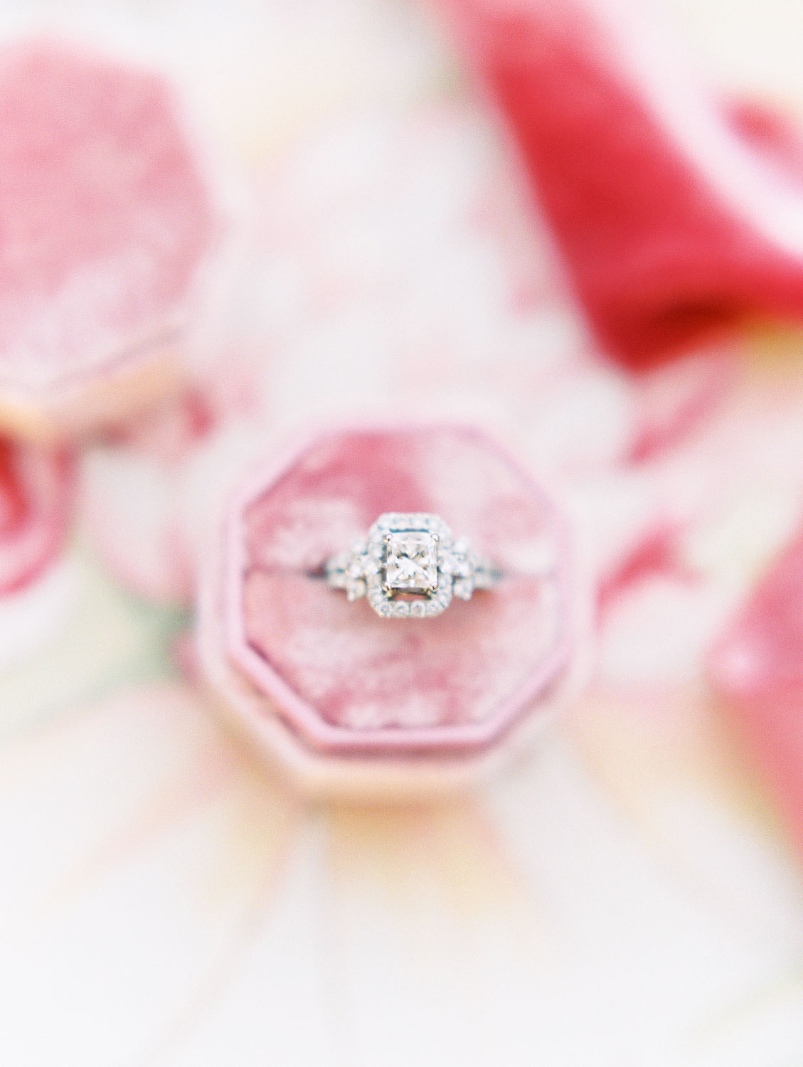 Cushion cut diamond engagement ring with large halo casing in a pink velvet octagon ring box, film Beverly Hills Hotel Engagement Photos by Cavin Elizabeth Photography