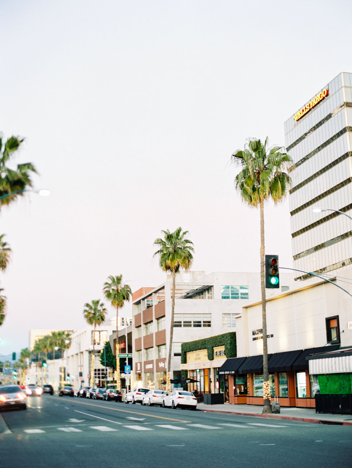 Santa Monica Blvd at sunset, Beverly Hills Sprinkles Cupcake Engagement Photos by Cavin Elizabeth Photography