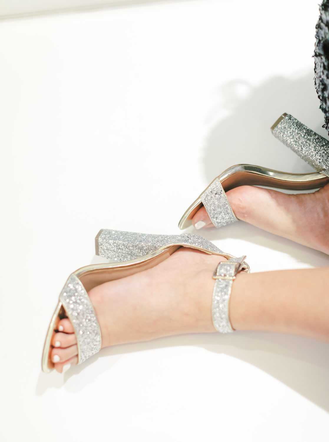 Bride wearing silver glitter heels, Beverly Hills Sprinkles Cupcake Engagement Photos by Cavin Elizabeth Photography