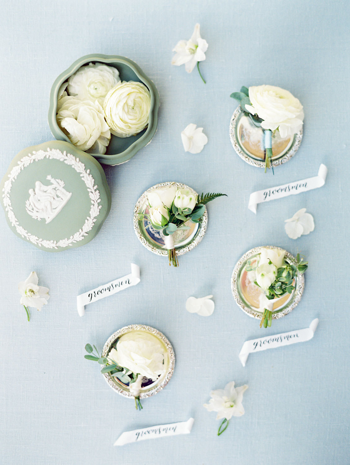 Ivory and green boutonnieres on silver dishes with antique green porcelain bowl and lots of flowers shot on film, Del Mar Country Club Wedding by Cavin Elizabeth Photography