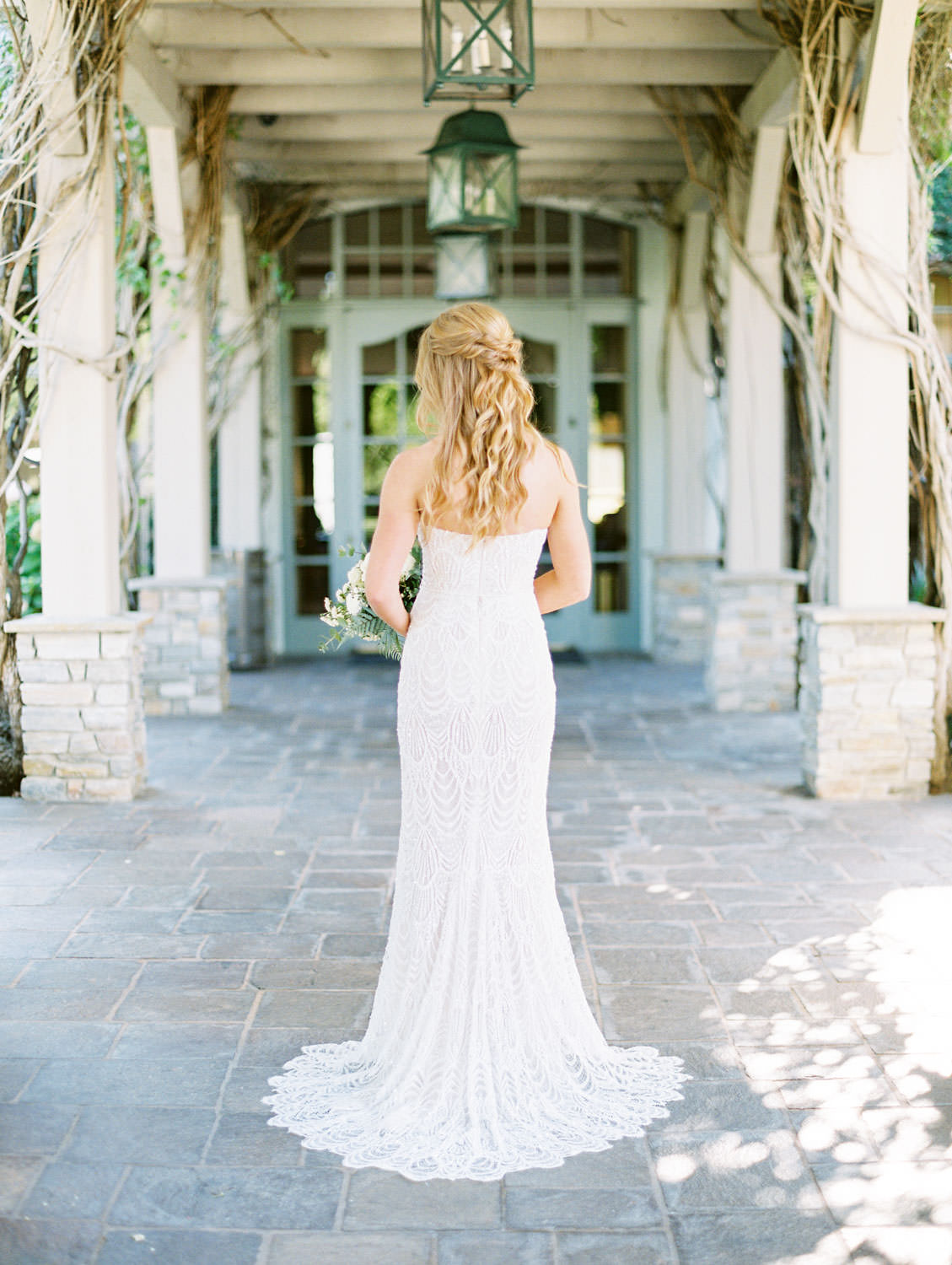 Bride with green and ivory bouquet wearing sweetheart neckline Galia Lahav beaded gown shot on film, Del Mar Country Club Wedding by Cavin Elizabeth Photography