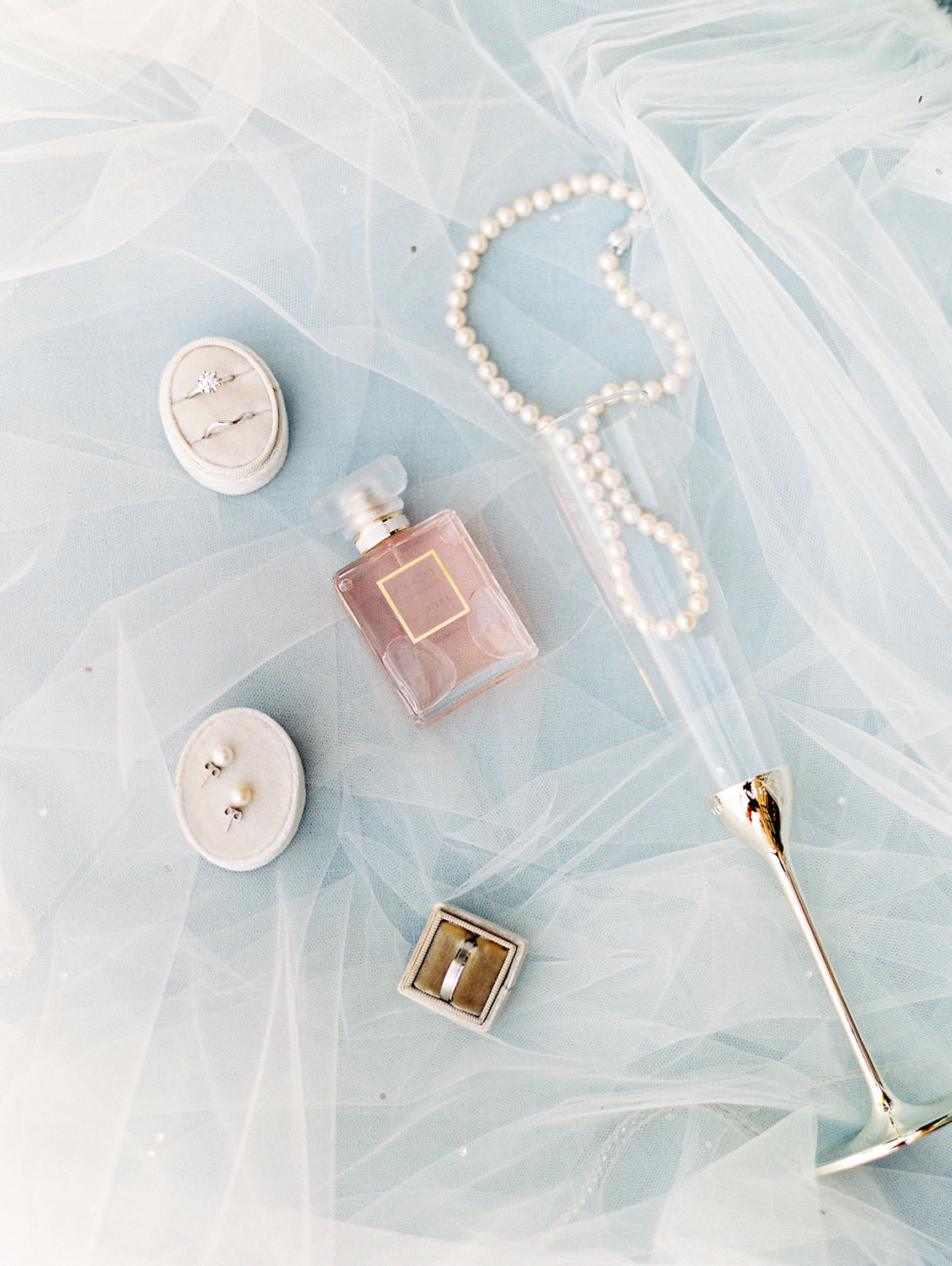 Bride's perfume, veil, rings, and earrings with special champagne flute and pearls, Del Mar Country Club Wedding by Cavin Elizabeth Photography